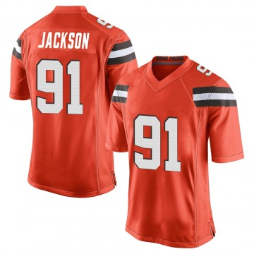 Men's Joe Jackson Cleveland Browns Game Orange Alternate Jersey