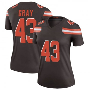 Women's Trayone Gray Cleveland Browns Legend Brown Jersey